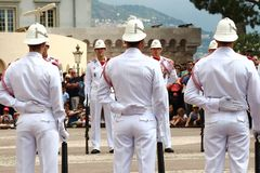 Guard changing ceremony near Prince`s Palace, Monaco stock photo