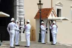 Guard changing ceremony, Prince`s Palace, Monaco City Royalty Free Stock Photo