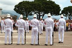 Row of guards near Prince`s Palace, Monaco Stock Photo