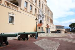 Prince`s Palace of Monaco decorated with cannons royalty free stock image