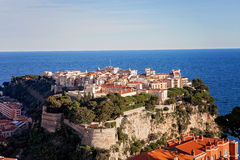 Prince's Palace in Monaco, view from the exotic gardens Royalty Free Stock Images