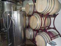 Prince Stirbey winery, Romania. Stainless steel containers and wine oak barrels at Prince Stirbey winery. Prince Stirbey winery is a private wine maker in the royalty free stock photos
