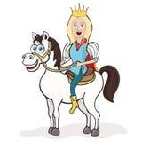 Prince sur un cheval blanc, dessin de bande dessinée, illustration de vecteur, caractère animé Garçon blond de sourire mignon drô Images stock