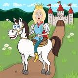 Prince sur un cheval blanc, dessin de bande dessinée, illustration de vecteur, caractère animé Garçon blond de sourire mignon drô Images libres de droits