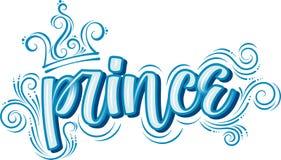 prince Utdragen idérik modern kalligrafi för hand i blått royaltyfri illustrationer