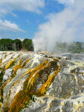 The Prince of Wales Feathers thermal spring erupting in Rotorua, New Zealand Stock Image