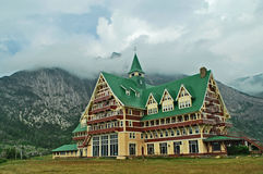 Prince of Wales Hotel in Waterton, Alberta, Canada. The iconic hotel looks down on the town of Waterton. Built on the design of a European chateau evokes Royalty Free Stock Images
