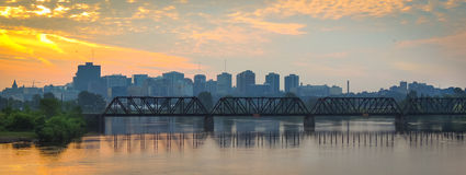 Prince of Wales rail bridge and city scape in the morning. Royalty Free Stock Photo