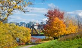Prince of Wales railway bridge & Ottawa River & Capitol city skyline. Royalty Free Stock Photos