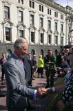 Prince of Wales visit to Auckland New Zealand. AUCKLAND - NOV 08 2015:Prince of Wales (C) arrive at Aotea Square, in Auckland New Zealand for a public walk.He is Royalty Free Stock Photography