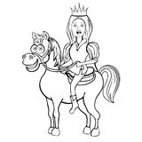 Prince on white horse cartoon outline drawing, coloring, sketch, silhouette, vector black and white line illustration. Funny cute Stock Photography