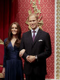 Prince William and Kate Middleton. Wax statues at Madame Tussauds in London stock images