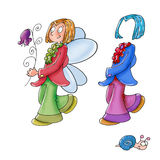 Prince, with wings and flowers, one day change clothes. Stock Photo