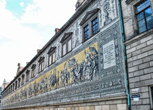 The princely procession Fyurstentsug - famous tiled wall panels in Dresden, Germany royalty free stock image