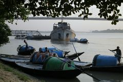 Princep Ghat Kolkata. Ganges in Kolkata anchored ship stock image