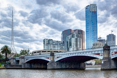 Princes Bridge and the Melbourne CBD. Princes Bridge and the southbank of the Melbourne CBD on a cloudy afternoon Royalty Free Stock Image