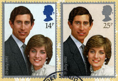 Princes Charles and Lady Diana Spencer Postmarked Postage Stamp. UNITED KINGDOM - CIRCA 1981: Vintage post-marked British stamps featuring the image of Prince Stock Images