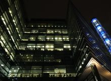 Princes Exchange office building in Leeds City Center illuminated at night stock photo