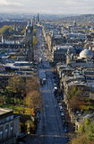 Princes street Edinburgh Scotland. Princes street is famous throughout the world for its Hogmanay street party . It is also one of the busiest streets in Stock Photo