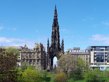 Princes Street, Edinburgh, Scotland. A view which includes the Scott Monument and the famous Jenners department store Royalty Free Stock Photos