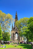 Princes Street garden with Scott Monument Royalty Free Stock Images