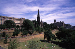 Princes Street Gardens. View from the National Gallery of Scotland, here are Scott Monument, Princes Street Gardens, Edinburgh Waverley railway station and stock image