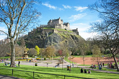 Princes Street Gardens Edinburgh. In Springtime with the Castle on the skyline stock image