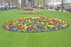Princes Street Gardens, Edinburgh. Beds of Spring flowers in the Princes Street Gardens, Edinburgh on 11 th April 2012 stock photo