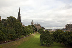 Princes Street Gardens And Edinburgh Castle, Scotland Stock Image