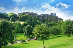 Princes Street Gardens and Edinburgh Castle, Scotland Royalty Free Stock Images