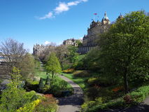 Princes Street Gardens, Edinburgh, Scotland. With the Bank of Scotland building rising above the trees Stock Images