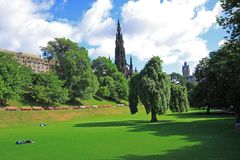 Princes Street Gardens in Edinburgh, Scotland Stock Photos