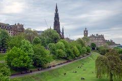 Princes Street Gardens Scottish Edinburgh with view at Scott monument. Princes Street Gardens in Edinburgh Scotland with view at Scott monument royalty free stock photo