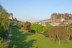 Princes Street Gardens. View on the Princes Street Gardens and the Waverley Bridge, Edinburgh, Scotland Royalty Free Stock Photos