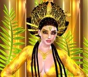 Princesa asiática com coroa do ouro contra um ouro e um fundo verde Beleza, forma e cosméticos digitais modernos da arte Foto de Stock