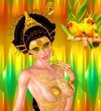 Princesa asiática com coroa do ouro contra um ouro e um fundo verde Beleza, forma e cosméticos digitais modernos da arte Fotos de Stock Royalty Free