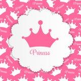 Princesa Background con vector de la corona Foto de archivo