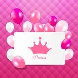 Princesa Background con vector de la corona Fotos de archivo