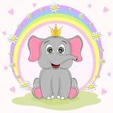 Princesa bonito do elefante que senta-se na grama ilustração royalty free