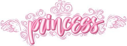 Princesa Caligrafía moderna creativa exhausta de la mano en rosa stock de ilustración