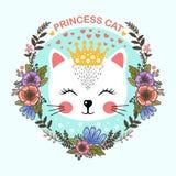 Princesa Cat Bonito, gato dos desenhos animados No quadro das flores ilustração do vetor