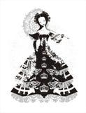 Princesa com pára-sol ilustração royalty free
