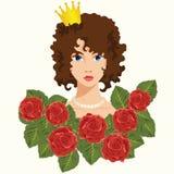 Princesa com rosas vermelhas ilustração royalty free