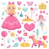 Princesa con unicornio del cuento de hadas, mago y sus elementos mágicos Imágenes del vector fijadas