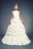Princesa da menina no vestido de bola branco Fotos de Stock Royalty Free