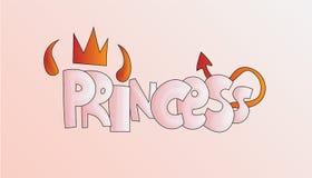 Princesa da palavra dos desenhos animados com chifres e cauda do diabo na cor cor-de-rosa pastel Conceito da menina do diabo do i ilustração royalty free