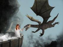Princesa de la fantasía, castillo, dragón malvado imagenes de archivo