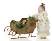 Princesa de la nieve con el trineo Imagen de archivo libre de regalías