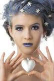 Princesa de la nieve y el corazón Fotografía de archivo libre de regalías