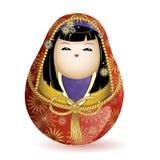 Princesa de madera nacional japonesa del kimekomi de la muñeca en un kimono rojo y una correa de la cuerda Ilustración del vector Imagen de archivo